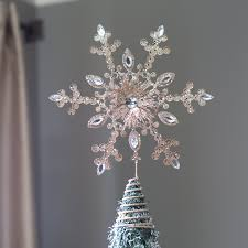 14 in glittered champagne crystaled snowflake tree topper hayneedle