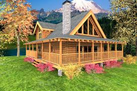 two story log homes with wrap around porch