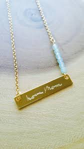 Gold Engraved Necklace Custom Handwriting Mywhys