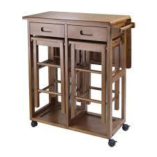 wood roll breakfast bar island cart w stool table leaf nook dining