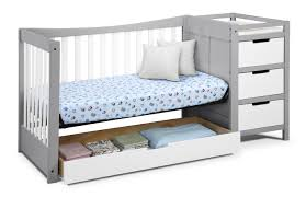 Gray Convertible Cribs by Graco Remi 4 In 1 Convertible Crib And Changer Pebble Gray White