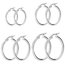 stainless steel earrings hypoallergenic women s stainless steel high polished finish rounded