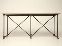 french reproduction industrial sofa console table with a stone top