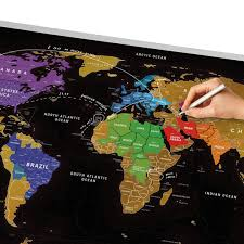 World Map Poster India by Deluxe Black Scratch Map Of The World Poster 80 X 60cm