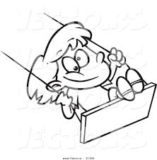 vector of a cartoon swinging outlined coloring page by