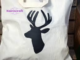 tote bag natural cotton cream stag head deer head buck