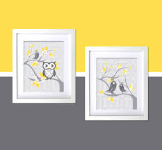 Yellow Gray Nursery Decor Etsy Wall Contemporary The Wall Decorations