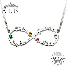 birthstone mothers necklace silver infinity 4 names necklace with birthstones personalized