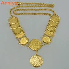 coin jewelry necklace images Anniyo 45cm metal coin necklaces for women gold color arab coins jpg