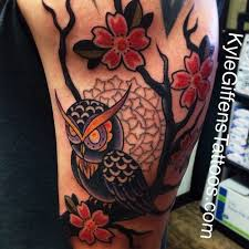 little tattoo studio traditional owl tattoo by kyle