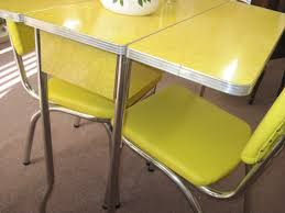 hand crafted kitchen tables retro drop leaf kitchen tables and chairs yellow 1950s cracked for