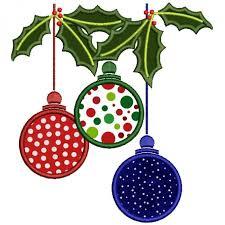 tree ornaments applique machine embroidery digitized design pattern