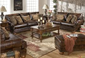 traditional brown bonded leather sofa loveseat living room set