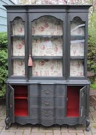 Hutch China China Cabinet Makeover With Wallpaper China Cabinets China And