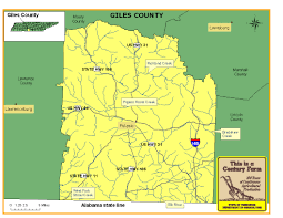 Tennesse Map Giles County Tennessee Century Farms