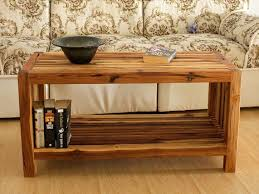 Rustic Teak Coffee Table Teak Slat Coffee Table With Storage Shelf 36 X 16 X 18 Solid