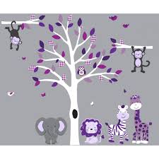 purple and gray tree wall stickers with jungle wall stickers for purple and gray white tree wall decal with safari wall decals for girls bedrooms