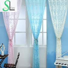 Floral Jacquard Curtains Slow Soul White Pink Sky Blue Jacquard Curtain Pastoral Floral
