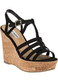 steve madden nalla black leather wedge sandal jildor shoes