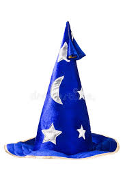 blue wizard hat with silver stars cap isolated stock photo