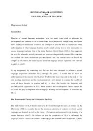 second language acquisition and english language teaching