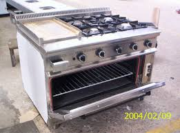 4 burners plus grill with oven gas range hotel kitchen equipment