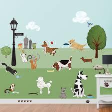 dog and cat wall stickers city park theme wall decals paws park cat and dog wall sticker decal kit jumbo set