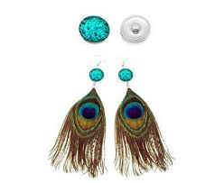 peacock feather earrings charm snap peacock feather earrings buy online in south