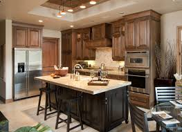 White Kitchen Island With Natural Top High Brown Wooden Cabinet With Oven Plus Black Wooden Rectangle