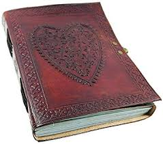 photo album leather large vintage heart embossed leather journal