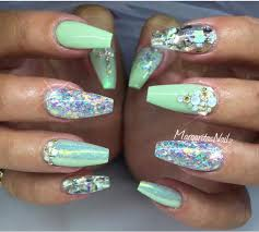 mint green holo glitter nails nothing but nails pinterest