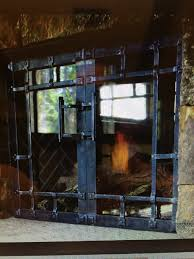living room fireplace doors wrought iron with steel handle