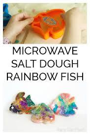 microwave salt dough rainbow fish craft for