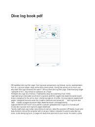 dive log book pdf scuba diving underwater work