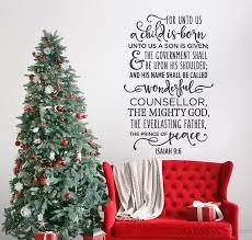 for unto us a child is born christmas decor wall decal for unto us a child is born