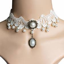 pearl necklace wedding dress images New wild white lace imitation pearl necklace princess bride jpg