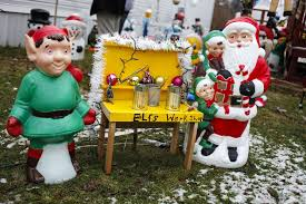 Blow Mold Christmas Yard Decorations Hundreds Of Festive Blow Molds Fill Freeland Teen U0027s Holiday