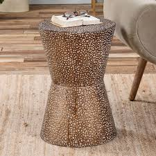 Metal Drum Accent Table Hammered Metal 13 Diam X 20 H In End Table
