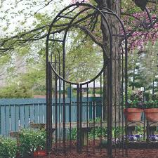 panacea garden arched top garden arch with gate brushed bronze