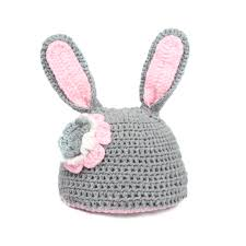 easter bunny hat handmade unisex baby photography props costume grey pink