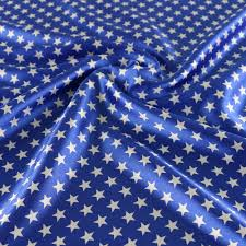 Blue Flag With Stars Royal Blue Satin Fabric Geometric Stars Print Material Curtains