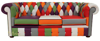 Chesterfield Sofa Patchwork Chesterfield Patchwork 3 Seater Settee Leather Sofa Offer
