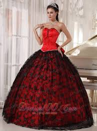 red and black quinceanera dress taffeta and tulle discount