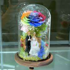 fashion preserved flower in glass with doll real colorful rainbow