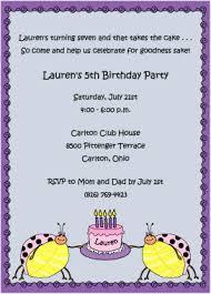 pink ladybug party 5th birthday invitation
