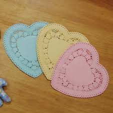 heart shaped doilies shaped paper doily 4colors 90mm