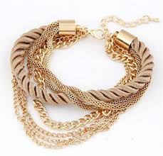 gold chain charm bracelet images Charm bracelet for women fashion jewelry gold chain braided rope jpg