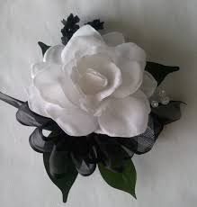 and black corsage wrist corsage black white gardenia wedding bridal flowers