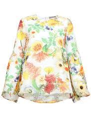 sleeve chiffon blouse chinami bell sleeve chiffon blouse white floral print poplook com