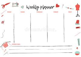 weekly and daily planner template for creative hand made activity